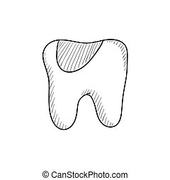 Tooth decay sketch icon - Tooth decay vector sketch icon...