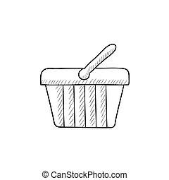 Shopping basket sketch icon - Shopping basket vector sketch...