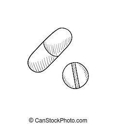 Pills sketch icon. - Pills vector sketch icon isolated on...