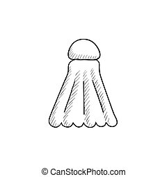 Shuttlecock sketch icon. - Shuttlecock vector sketch icon...