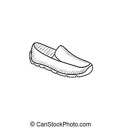 Male shoe sketch icon. - Male shoe vector sketch icon...