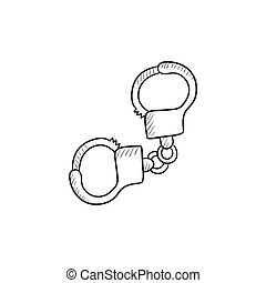 Handcuffs sketch icon. - Handcuffs vector sketch icon...