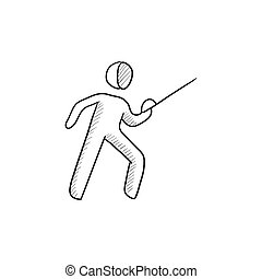 Fencing sketch icon. - Fencing vector sketch icon isolated...