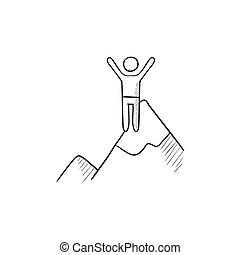 Climbing sketch icon. - Climbing vector sketch icon isolated...