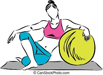 fitness girl with exercise ball ill