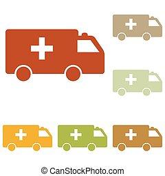 Ambulance sign illustration. Colorful autumn set of icons.