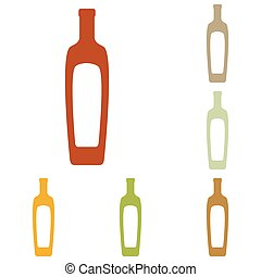 Olive oil bottle sign Colorful autumn set of icons