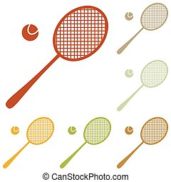 Tennis racquet sign Colorful autumn set of icons