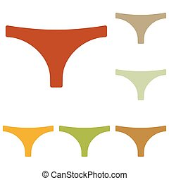 Womens panties sign. Colorful autumn set of icons.