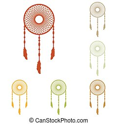 Dream catcher sign. Colorful autumn set of icons.