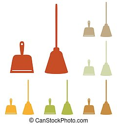 Dustpan vector sign. Scoop for cleaning garbage housework...