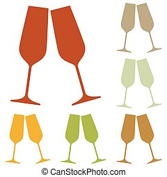 Sparkling champagne glasses. Colorful autumn set of icons.