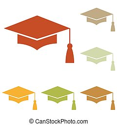 Mortar Board or Graduation Cap, Education symbol. Colorful...