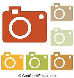 Digital camera sign. Colorful autumn set of icons.
