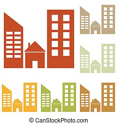 Real estate sign. Colorful autumn set of icons.