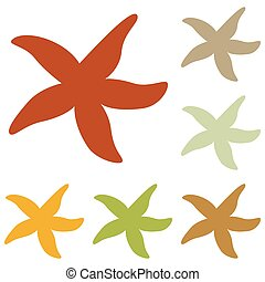 Sea star sign. Colorful autumn set of icons.