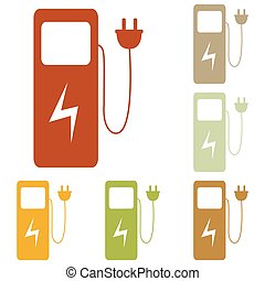 Electric car charging station sign. Colorful autumn set of...