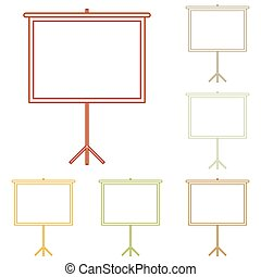 Blank Projection screen. Colorful autumn set of icons.