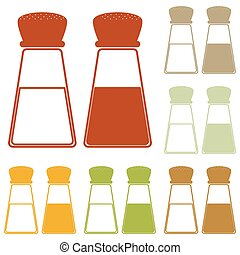 Salt and pepper sign. Colorful autumn set of icons.