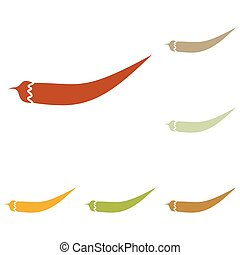 Chilli pepper sign Colorful autumn set of icons