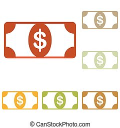Bank Note dollar sign. Colorful autumn set of icons.
