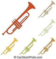 Musical instrument Trumpet sign Colorful autumn set of icons...