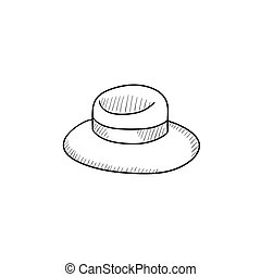 Summer hat sketch icon - Summer hat vector sketch icon...