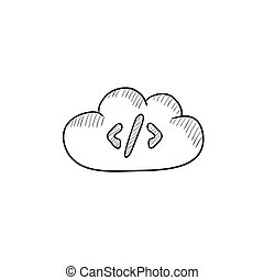 Transferring files cloud apps sketch icon - Transferring...