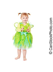 little fairy with green frog - studio shot of little fairy...