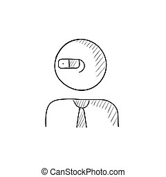 Man in augmented reality glasses sketch icon - Man in...