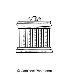 Acropolis of Athens sketch icon. - Acropolis of Athens...