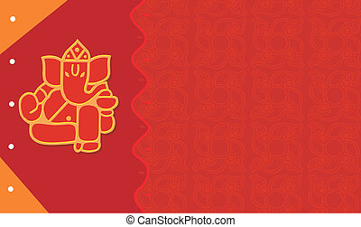 Ganesha - Image of Ganesha on card in radiant red