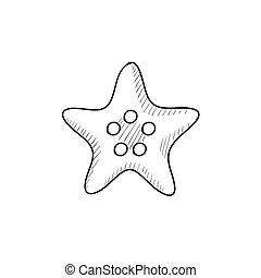 Starfish sketch icon - Starfish vector sketch icon isolated...