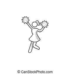 Cheerleader sketch icon - Cheerleader vector sketch icon...