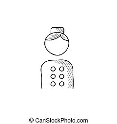 Bellboy sketch icon. - Bellboy vector sketch icon isolated...