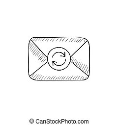Envelope mail with refresh sign sketch icon.