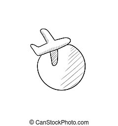 Travel by plane sketch icon. - Travel by plane vector sketch...