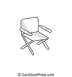 Folding chair sketch icon. - Folding chair vector sketch...