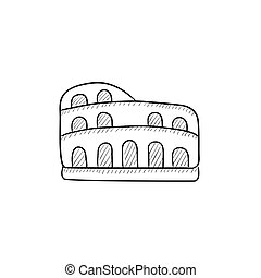 Coliseum sketch icon. - Coliseum vector sketch icon isolated...