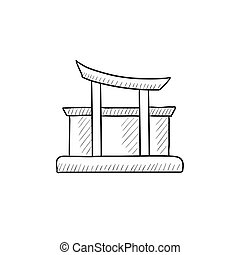 Torii gate sketch icon - Torii gate vector sketch icon...