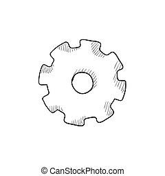 Gear sketch icon.