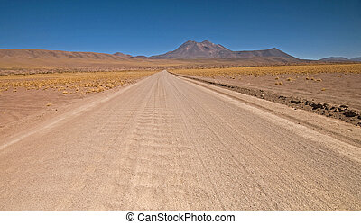 Desert Road - Desert road through San Pedro de Atacama in...
