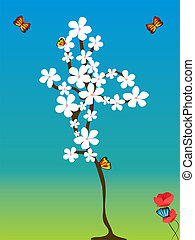 tree flowered with butterfly