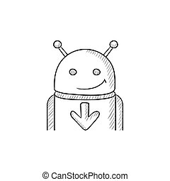 Android with arrow down sketch icon. - Android with arrow...