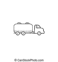 Truck liquid cargo sketch icon - Truck liquid cargo vector...