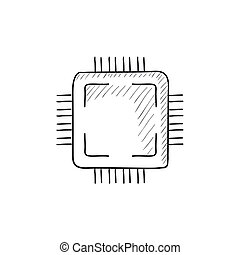 CPU sketch icon - CPU vector sketch icon isolated on...