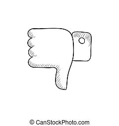 Thumbs down sketch icon - Thumbs down vector sketch icon...