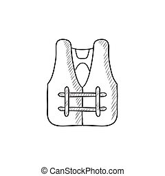 Life vest sketch icon - Life vest vector sketch icon...