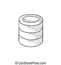 Computer server sketch icon - Computer server vector sketch...