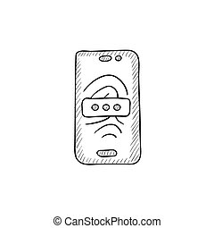 Mobile phone scanning fingerprint sketch icon - Mobile phone...